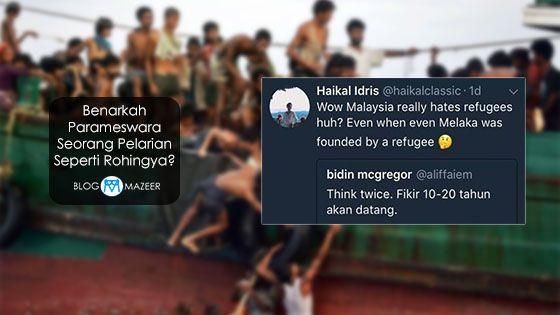 Benarkah Parameswara Seorang Pelarian Seperti Rohingya?   Pertama istilah refugee dari sudut sejarah itu sendiri datang daripada Bahasa Perancis Kuno iaitu refuge yang bermaksud tempat menyorok. Dalam sejarah terdapat beberapa buah undang-undang yang menepati seakan-akan undang-undang refugee moden tetapi tidaklah setepat konvention 1951.  Antara undang-undang tersebut adalah apabila Aethelberht daripada England yang meletakkan gereja sebagai tempat untuk mendapatkan perlindungan bagi…
