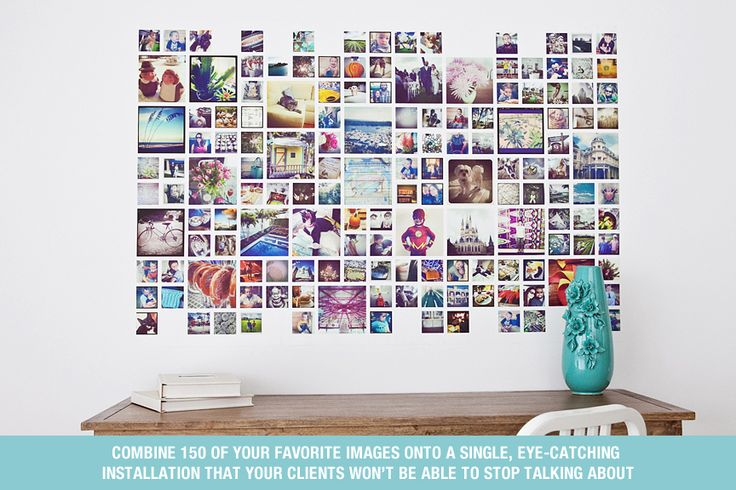 Instagram Wall Template from Design Aglow combines 150 of your favorite images onto a 40x60 Wall Cling! Amazing!  So doing this...