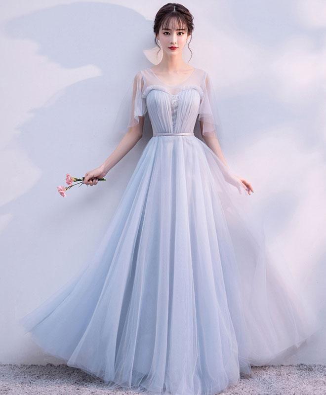 Gray v neck tulle long prom dress, gray tulle evening dress
