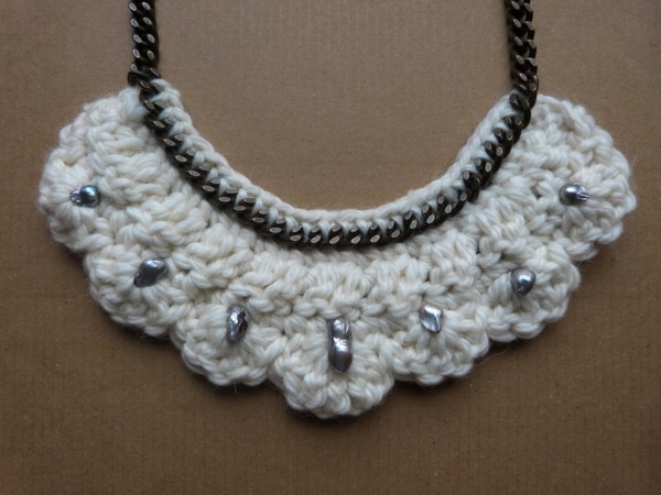 wool crocheted necklace with freshwater pearls by Roses in wonderland , via Behance