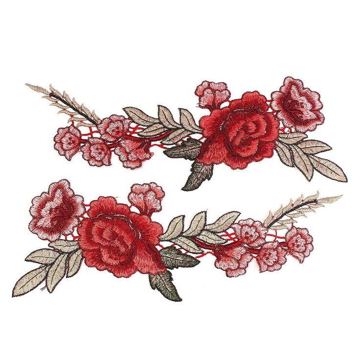 2 יחידות יפה רוז פרח שמלת חזה תיקון Applique תג רקום בעבודת יד לתפור צווארון פרחוני קרפט קישוט מדבקת בד