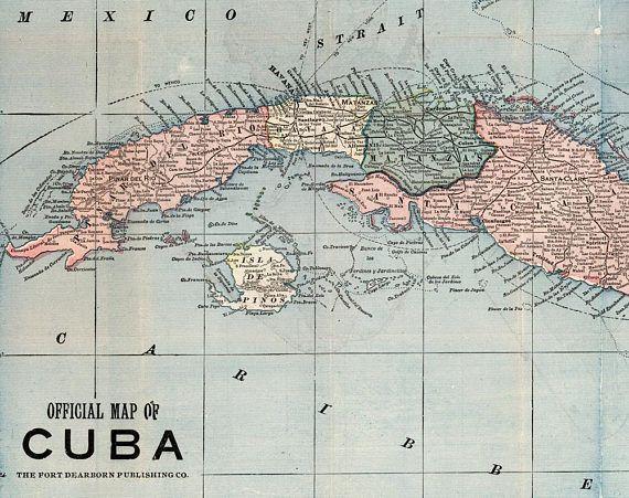 Cuba map printable digital download. 1899 Vintage Cuba Map.   Maps Digital Map Download on