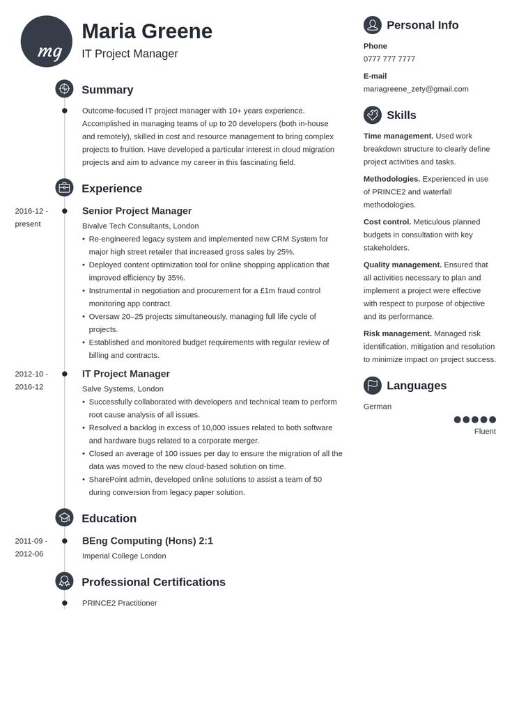 it project manager resume example template primo  project