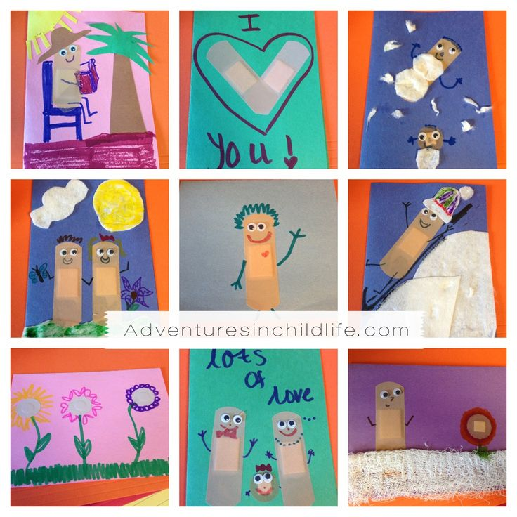 Another great art activity that is incorporating band aids. Using things such as band aids, syringes, test tubes, etc as art activities gives the supplies a different meaning other than just being used for something bad.