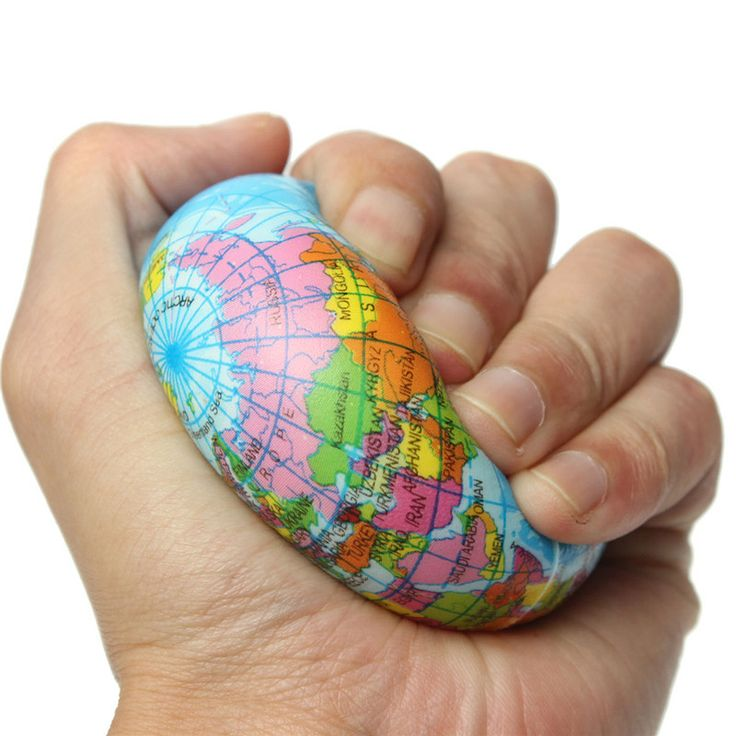 Earth Globe World Map Foam Stress Relief Press Ball Geography