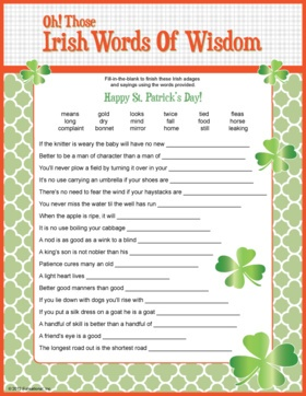 Irish Words of Wisdom - trivia game. St. Patrick's Day game.