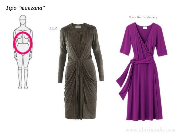 """Cuerpo tipo """"manzana"""".    En este caso la zona media -del abdomen- es la más grande, lo que crea una forma algo redondeada. Para este tipo de cuerpo, lo importante es buscar vestidos cruzados que ayuden a """"crear"""" una línea de cintura,  o bien, vestidos que tengan pliegues o frunces en la zona del abdomen para disimular los """"rollitos""""; además de """"faldas"""" en línea """"A"""" para que no se acentúe el área media."""