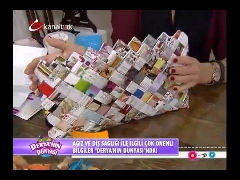 Kağıt örme tekniği ile çok şık çanta yapımı - Derya Baykal - Deryanın Dü...