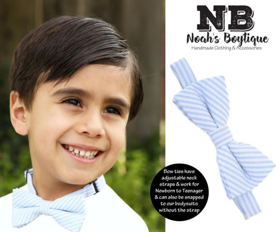 Baby Bow Tie Blue and White Seersucker Stripe - Toddler Bow Ties - Kid Bow Ties - Photo Prop - Cake Smash Bow Tie - Birthday Wedding Easter
