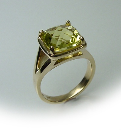 This natural 4.14ct Lemon Quartz is square shape with fishnet check cut top and set in 9ct gold. $750 buy it now!