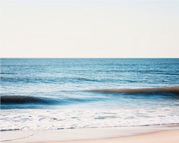 "Ocean Photography - sea waves blue white seascape beach photo landscape wall art seashore horizon, 11x14 Photograph, ""Once by the Atlantic"""