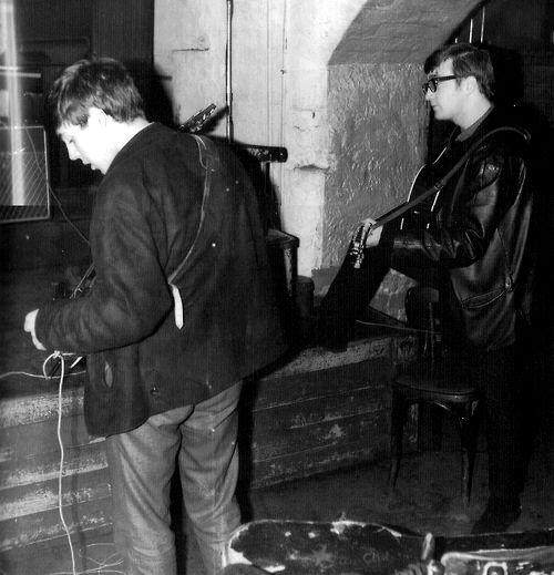 1962 - Beatles Paul McCartney and John Lennon, The Cavern Club, Liverpool, England.