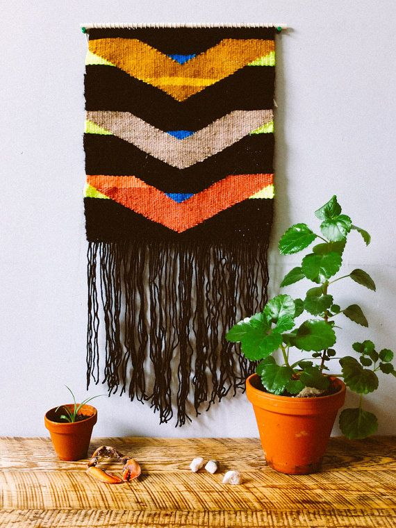 "Woven Wall Hanging - Tapestry - ""Descending Waves"""