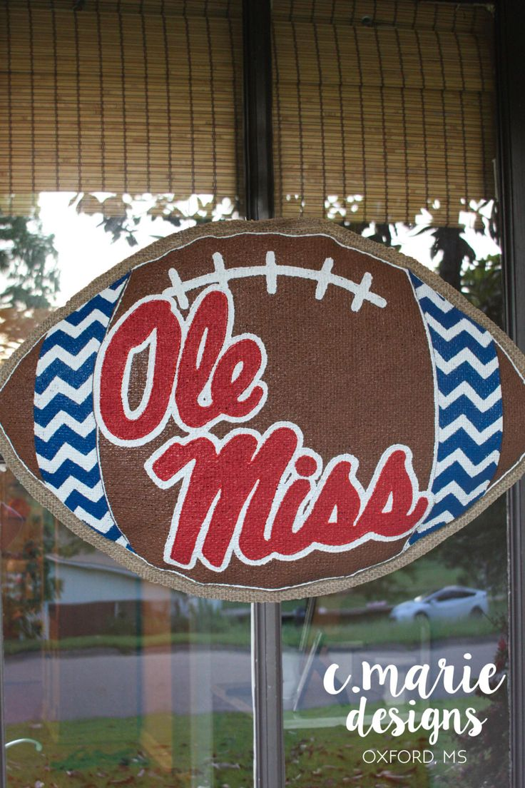 Ole Miss Chevron Football Burlap Door Hanger by CMarieDesignsOxford on Etsy https://www.etsy.com/listing/237367837/ole-miss-chevron-football-burlap-door