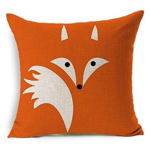 HT&PJ Decorative Cotton Linen Square Throw Pillow Case Cushion Cover Orange Abstract Fox Design 18 x 18 Inches: