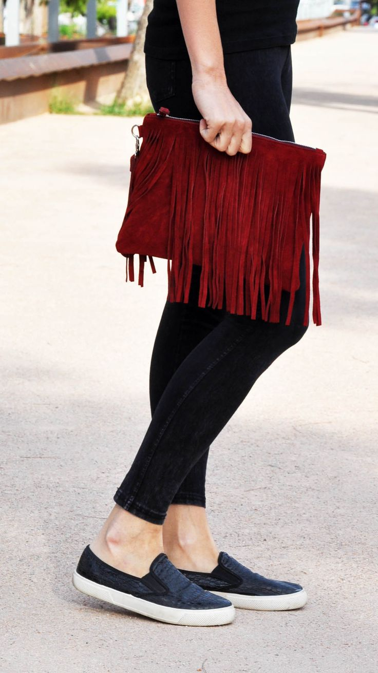 Fringed boho clutch, Red suede leather