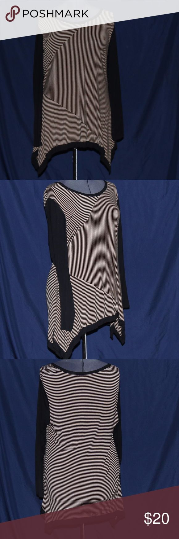 "Philosophy Black & Tan Striped Long Sleeve Top XXL EUC Brand Philosophy Size: XXL Black & Tan striped long sleeve top / tunic Fabric: 95% Rayon 5% Spandex Measurements are approximate Bust: 22"" Length 31"" Philosophy Tops Tunics"