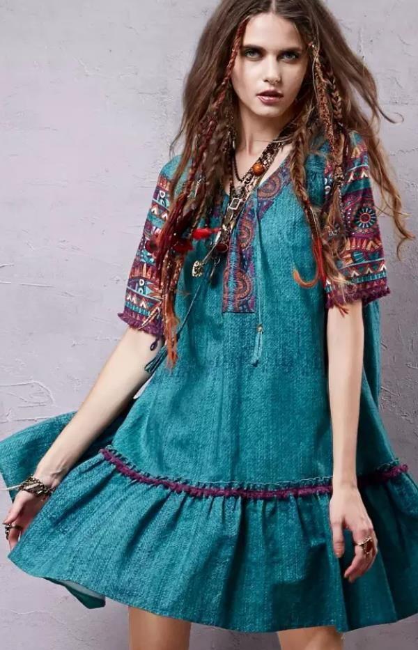 513802e481f0 Ethnic Printed Boho Dres.s Vintage bohemian Dress. Women fashion. Summer  dress.