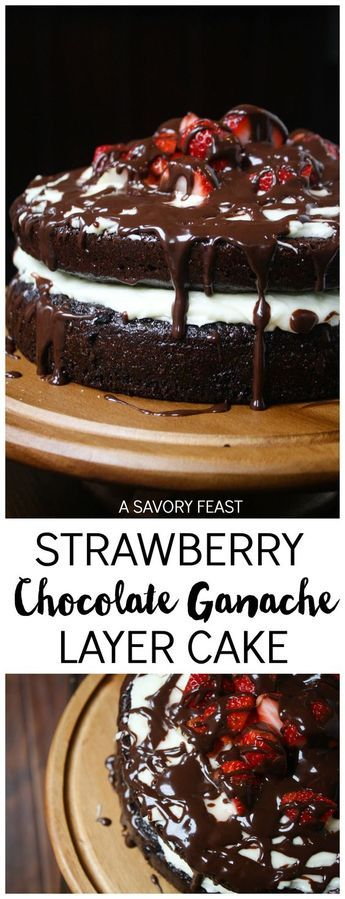 Strawberry Chocolate Ganache Layer Cake // Just in time for Valentine's Day, this decadent layer cake is the perfect way to spoil someone special. Layers of homemade chocolate cake and cheesecake frosting are topped with fresh strawberries and a rich chocolate ganache drizzle.: