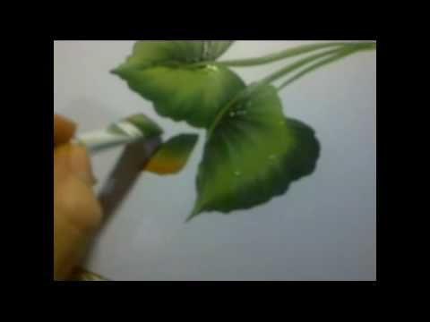 One Stroke Painitng Leaves.  This tutorial is using acrylic....but you could use this technique with watercolour!