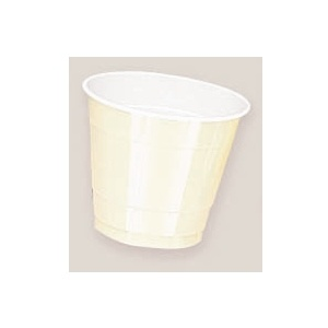 Plastic Vanilla Creme Cups. There are 20 Plastic Cups per package. These 9 ounce cups come in 22 colours to match any theme or event.