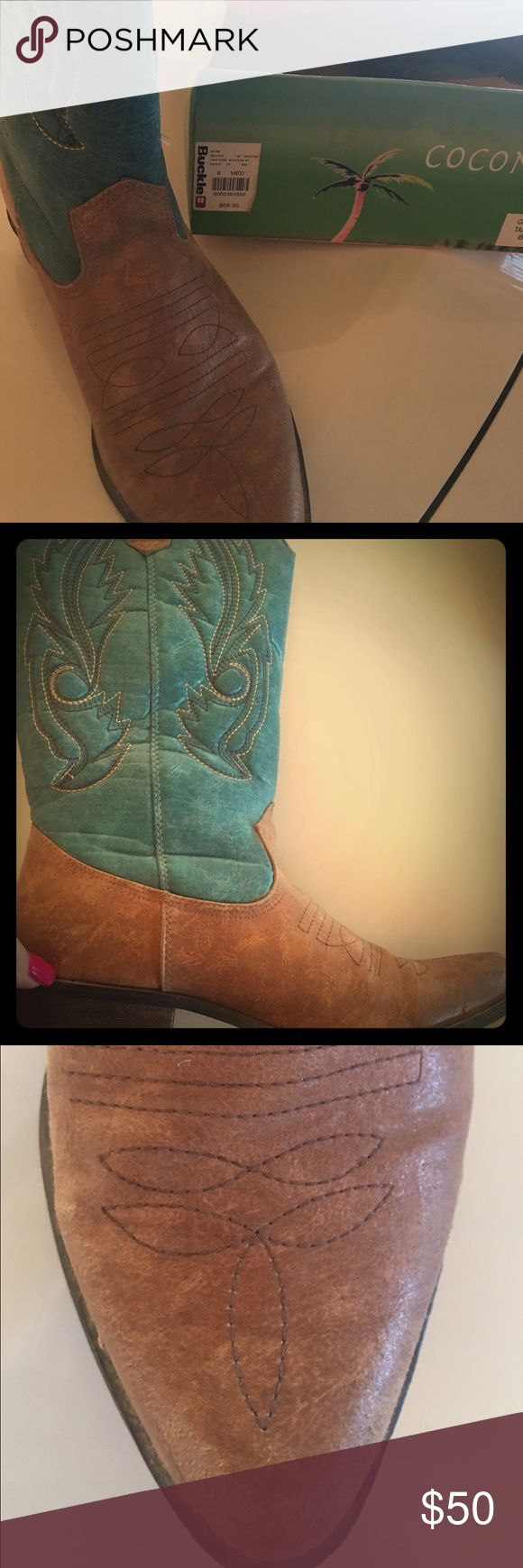 Cowboy boot with turquoise top. Nice leather cowboy boots with turquoise top. I bought them at The Buckle (as shown on the tag in pic) to wear with an outfit. I wore them 3 times. They are like brand new. I just never wear them anymore. Coconuts  Shoes Heeled Boots