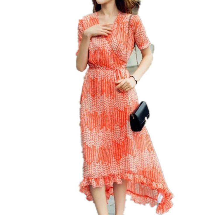 >> Click to Buy << New Summer Europe Elegant Slim Women Peplum Dress V-neck Printing Cascading Ruffle Cute Vestidos De Festa Longos #Affiliate
