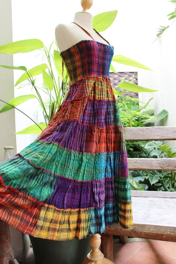 Thai Woven Cotton Long Tiered Skirt/ Dress OMWV by fantasyclothes