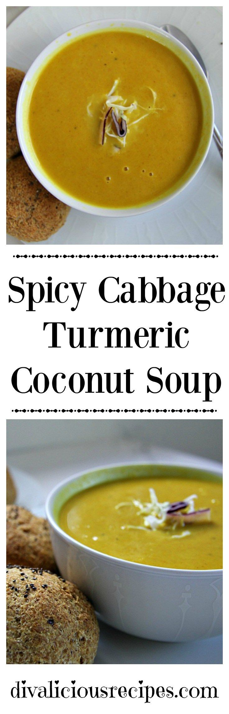 A cabbage turmeric nourishing soup with a splash of coconut milk. This also makes a great cleansing, anti-inflammatory soup. Recipe: http://divaliciousrecipes.com/2017/01/04/spicy-cabbage-turmeric-coconut-soup/