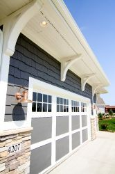 Exterior paint color, stone work, and trim detail