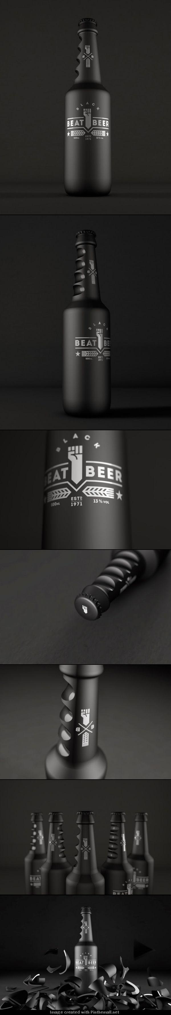 Beat Beer (Concept) . Packaging design . Bottle . Black . Product design . Brand .