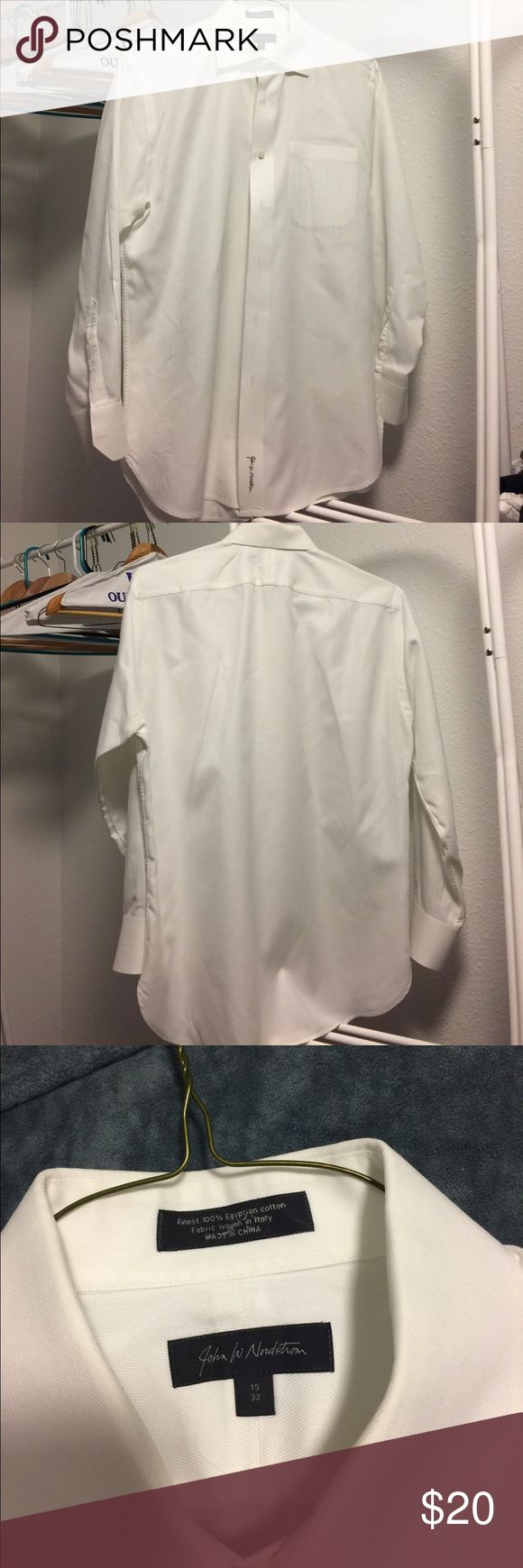 John W Nordstrom Mens white dress shirt size 15 32 Men's John W Nordstrom white dress shirt. Tag reads size 15, 32. Very crisp and in good condition. Will do my best to package it so it stays crisp. I ship from a smoke-free home. John W. Nordstrom Shirts Dress Shirts