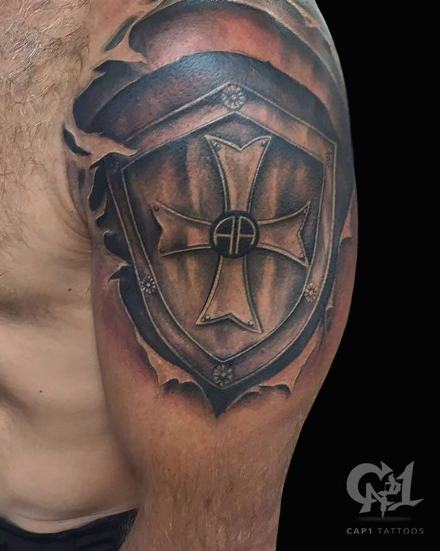 Shield of Armor Tattoo | Shoulder Tattoo | @tattoobycapone