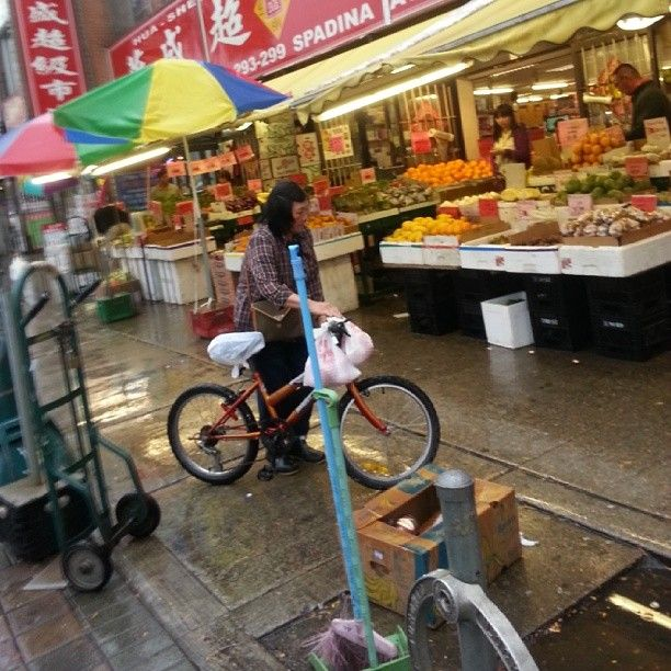 Chinatown on a rainy day in Toronto.