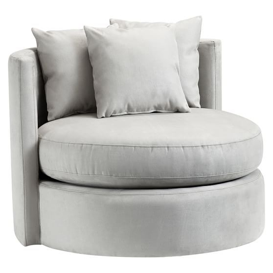 """Round-About Chair & Ottoman 39.25"""" diameter, 30"""" high; $599+30 and $299+20 PBteen"""