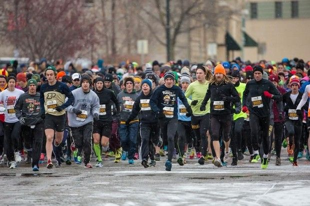 Start of the 5 mile race. The 6th Annual Festival Foods Turkey Trot brought hundreds of runners and walker to downtown Oshkosh early Thanksgiving morning. The event benefits the Oshkosh Boys and Girls Club and YMCA.