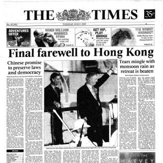 """The Times report on the handover.  The Chinese foreign ministry said that the Basic Law, an agreement signed by Margaret Thatcher and Zhao Ziyang in 1984 to guarantee Hong Kong's rights and freedoms, was a historical document that no longer had any significance. """"The Sino-British Joint Declaration is not at all binding,"""" a spokesman said. """"The UK has no sovereignty, no power to rule and no power to supervise Hong Kong."""""""