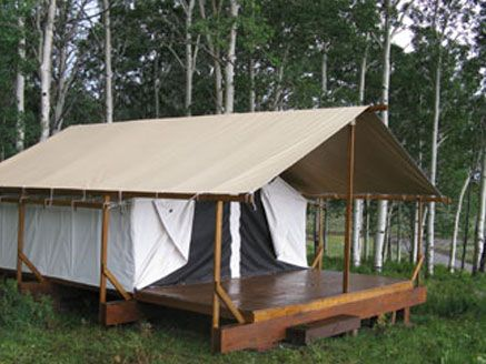 "Cimarron Platform Tents are the perfect outdoor getaway for those who love to get out in nature but don't necessarily want to ""rough it."" Think ""Glamp Camp"" ~ the girls would love it!"