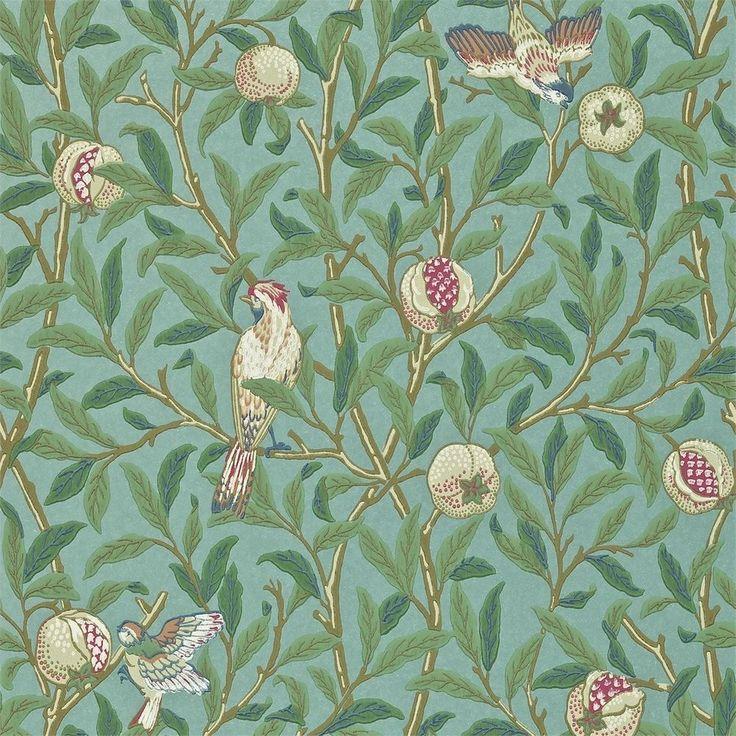 Tapete Türkis / Koralle 212538 Vögel + Granatapfel Archiv II Morris & Co in Heimwerker, Farben, Tapeten & Zubehör, Tapeten | eBay