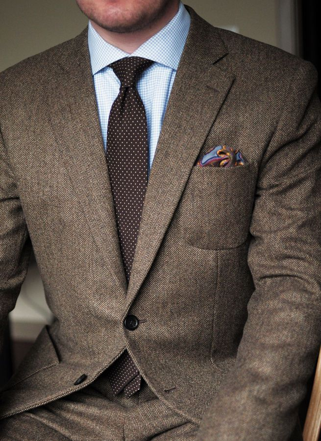 Brown herringbone tweed suit | Menswear | Men's Fashion | Men's Outfit for the Office | Sharp and Elegant Look | Fall/Winter Style | Moda Masculina | Shop at designerclothingfans.com
