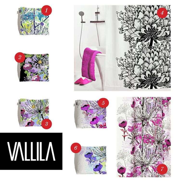 "Lovely gift ideas from Vallila! 1.-3. ""Anis"" pillow 43x43cm 4. ""Memento"" showercurtain 5.-6. ""Anis"" pillow 43x43cm 7. ""Anis"" curtain."