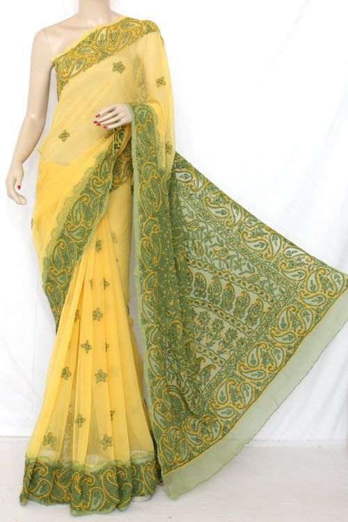 Yellow-Green  Daraj Work Hand Embroidered Lucknowi Chikankari Saree (With Blouse - Georgette) 12833