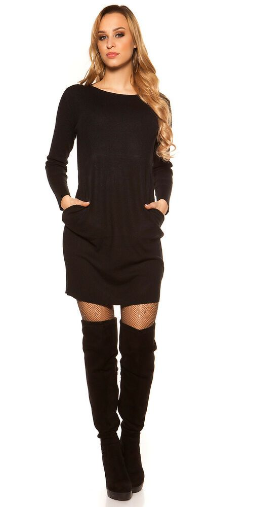 11f0c180235 Womens Ladies BLACK Long Sleeve Knitted Jumper Dress with Front Pockets 10  12