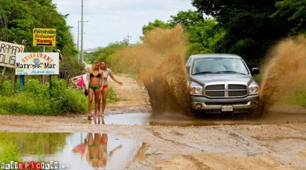 Girls Moments Away From Being Covered In Mud