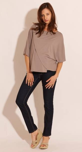Oksa Maternity & Breastfeeding Draped Overthrow in Stone #pregolipregnancy