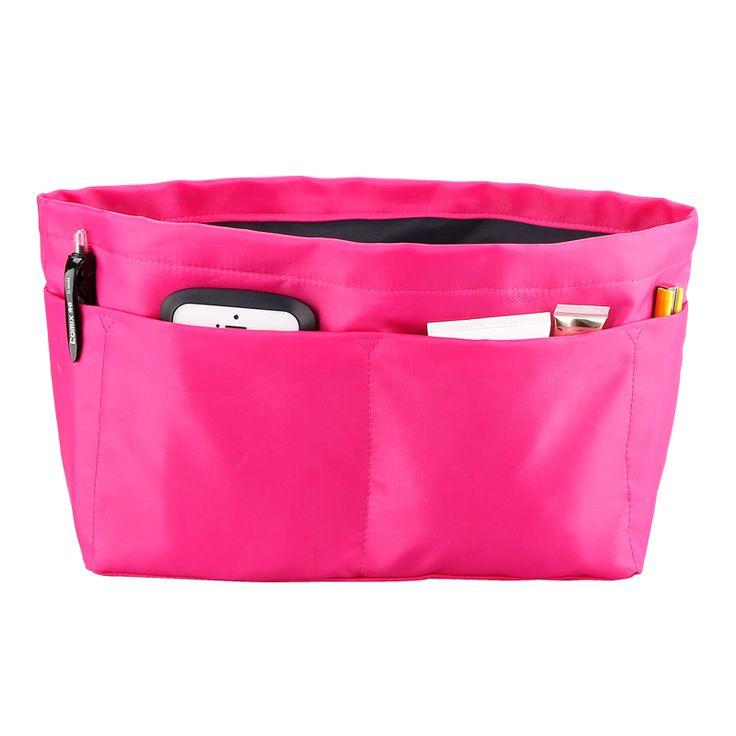 Розовый сумка вставить организатору 10 разного размера карманы двойной слой марка косметичку двухместный купе сумка на молнии купить на AliExpress