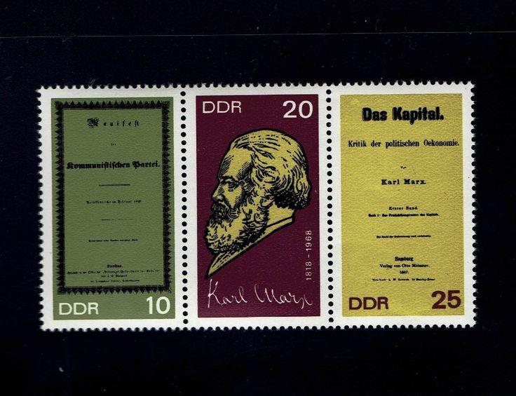 German DDR 104-1 Karl Marx, Communist Manifesto, Das Kapital, Apr 25, 1968 strip of 3 MNH lot #1004-6 -1 by VicsStamps on Etsy