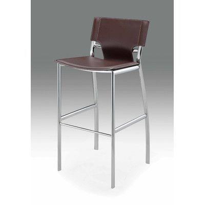 "Wade Logan Loren 26"" Bar Stool (Set of 2) Upholstery: Gray"