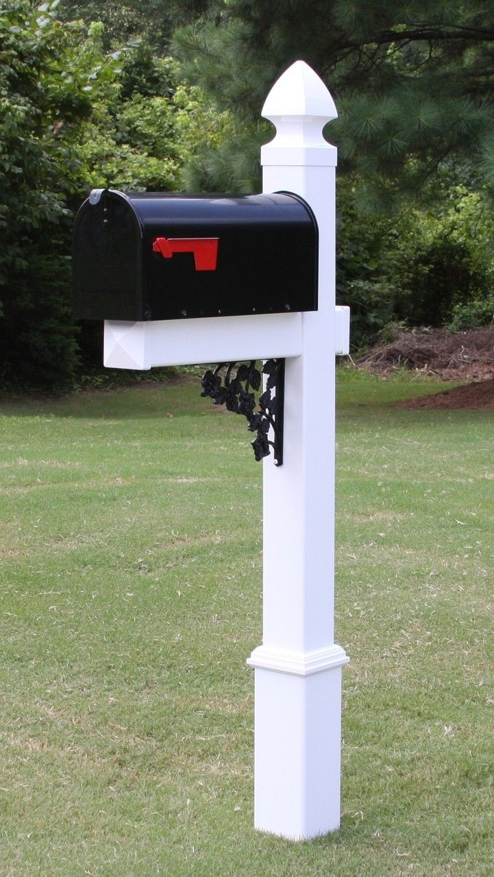 Features:  -Includes: Standard size black galvanized steel rural mailbox, all…