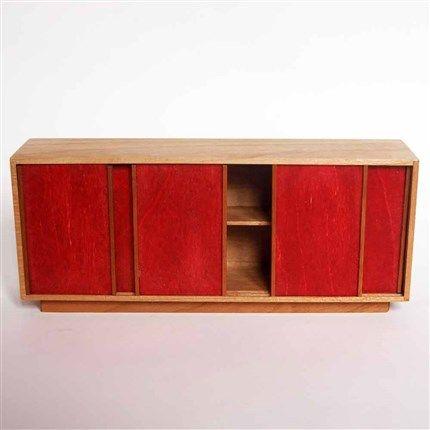 compra miniaturas modernas Aparador Rojo para casas de muñecas